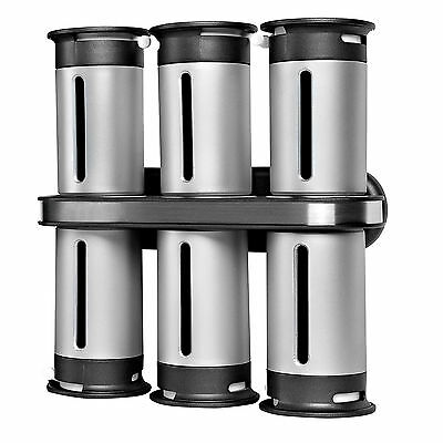 NEW Zero Gravity Wall-Mount Magnetic Spice Rack 6 Canisters