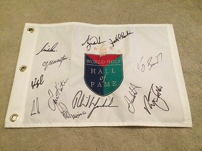 Hall Of Fame Golf Pin Flag Signed Autographed Tiger Woods Phil Mickelson
