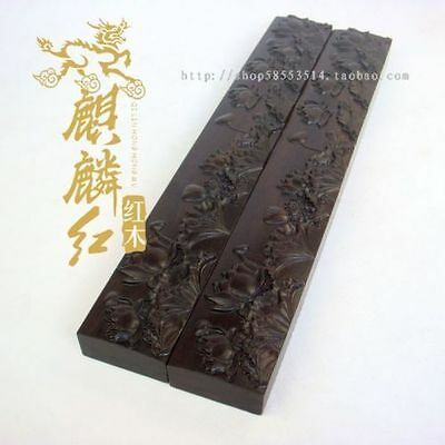 Exquisite Chinese Ebony Wood Hand Carved Lotus Paperweight A