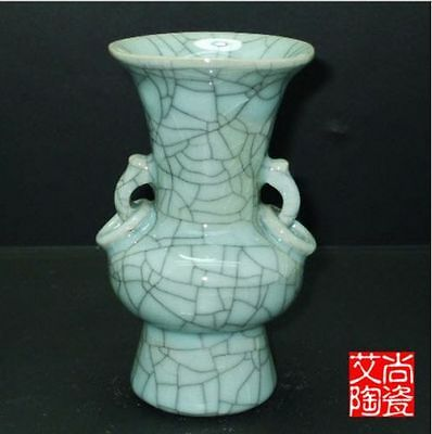 Superb Chinese Archaize Jun Porcelain Handmade Cutting Binaural Vase