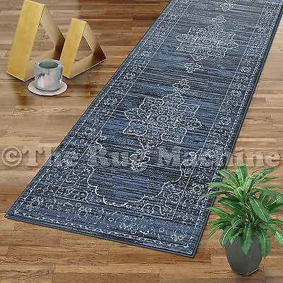 VINTAGE BLUE FADED MEDALLION ANTIQUE STYLE CLASSIC RUG RUNNER 80x300cm **NEW**