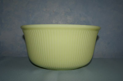 Rare vintage Manning Bowman yellow ribbed glass mixing serving bowl GUC