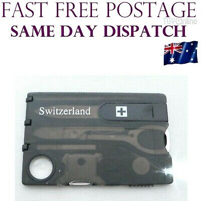 Multi Tool Credit Card Size Kit LED Functional Knife 12 in 1 Switzerland Light