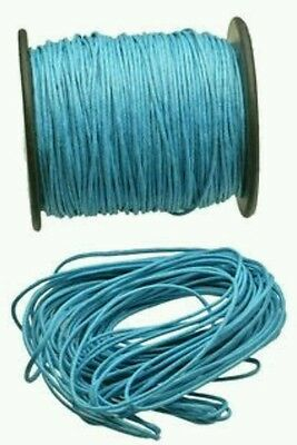 10m Turquoise 1.5mm waxed cotton cord DIY necklace jewellery string macrame bead
