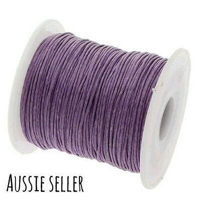 10m purple waxed cotton cord macrame craft jewellery necklace beading 1mm string