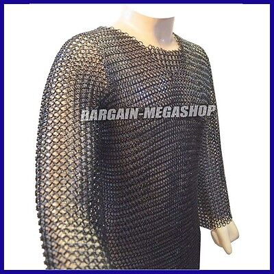 Butted Chain mail Shirt Black Meduim Hauberk SCA Butted Chain Mail Armor