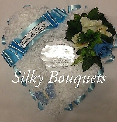 Artificial Flower Silk Funeral Heart Wreath Poem Photo Tribute Grave Memorial