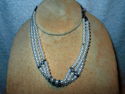 VTG Costume Jewelry Choker Necklace Triple Strand Faux Pearl and Rhinestone