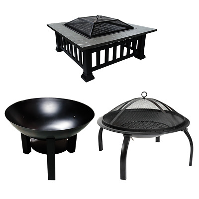 Garden Fire Pit Outdoor Wood Log Burner Bbq Patio Heater Metal Camping Brazier