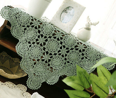 Pretty 3D Flower Hand Crochet Cotton Doily Table Topper Placemat E