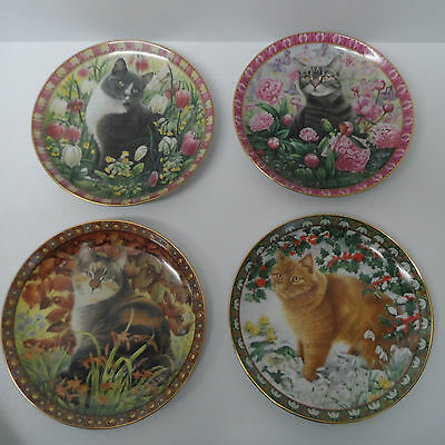 """Danbury Mint plates Cats """"The Four Seasons"""" set of 4 plates by Lesley Anne Ivory"""