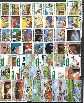 WALT DISNEY CARTOON STAMPS COLLECTION PACKET of 50 Different Stamps MNH