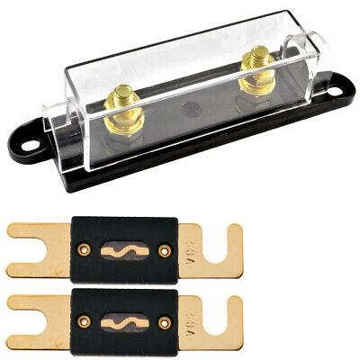 High Quality 1/0/4/8 Gauge ANL Fuse Holder + 2 Pack Nickel 150 Amp 150A Fuse