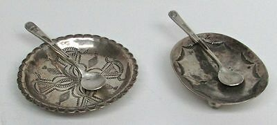 Rare Early 2 Native American Indian Sterling Silver Salt Dish & Spoon Set