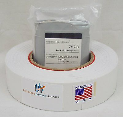 Ink Cartridge Black, PB 787-3, Large + 1 Postage Tape Roll of 613-H Connect