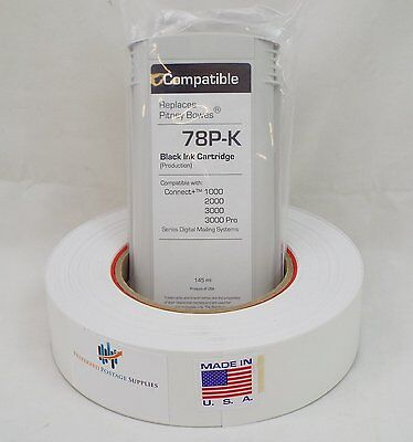 Black Ink Cartridge, PB 787-3 + Large plus 1 Postage Tape Roll 613-H Connect