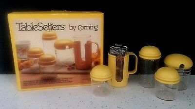 RARE Vintage NOS Corning Pyrex YELLOW Table Setters 5 pc Condiment  Set 20-TY