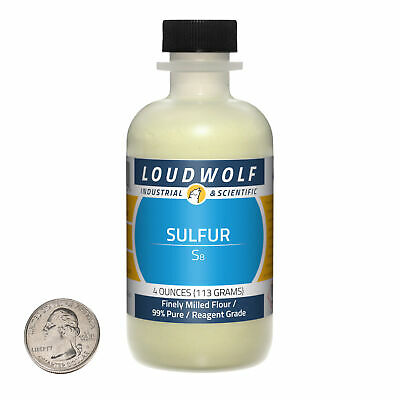 Sulfur Powder / Finely Milled Flour / 4 Ounces / 99% Pure / SHIPS FAST FROM USA