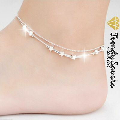 Little Star Sterling Silver Chain Ankle Bracelet Barefoot Beach Anklets