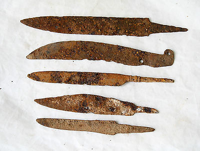LOT of 5 ANCIENT Medieval KNIFE BLADE ROMAN ARTIFACT - Metal detector Found