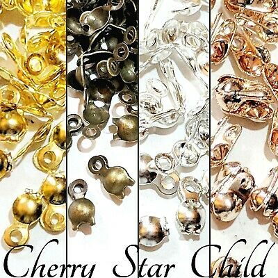 10 x gold silver pl clam calottes crimp bead ends clasp findings instructions