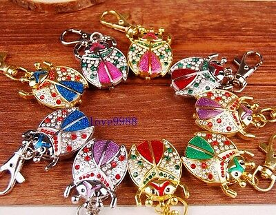 Wholesale 10 pcs Crystal Ladybug Key Ring Pocket Watches gifts USR84