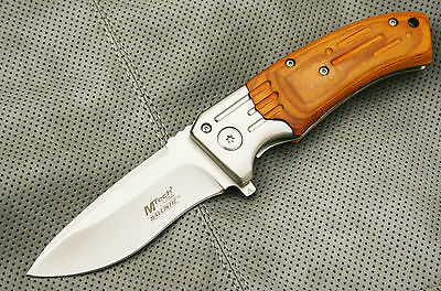 MTECH Spring Assisted Open PAKKAWOOD Assist Folding Hunting Blade Pocket Knife