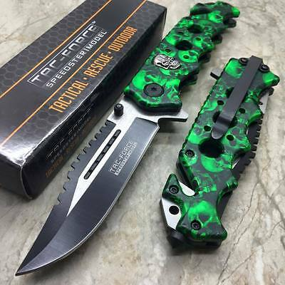 TAC FORCE Green Spring Assisted Open SAWBACK BOWIE Tactical Rescue Pocket Knife