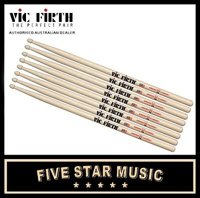 Vic Firth 7A Wood Tip Drum Stick 4 Pairs Drumsticks Vf7A Usa Hickory - New