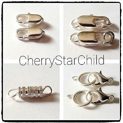 2 x silver pl clasp fine lobster 4x screw thread large lobster + loop findings