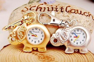 New 10pcs Cute elephant Style boy girl lady Key Ring pocket Watches USR80