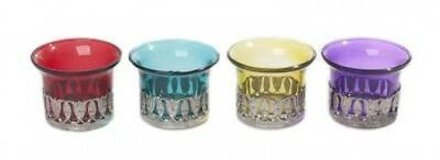 Moroccan Tea Light Candle Holder Set Of 4 Coloured Glass Metal New Home Decor