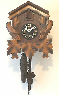 "Traditional German 2 Weights Driven Carved Wood Case Cuckoo Clock 9.5""H 7.5""W"