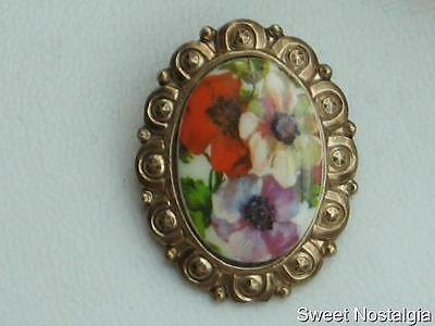 Pretty Vintage Colourful Flower Designed Gold Tone Framed Scarf Clip Ring