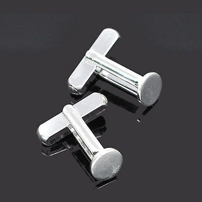 Pair of silver plated copper cuff link blanks with 8mm round pad