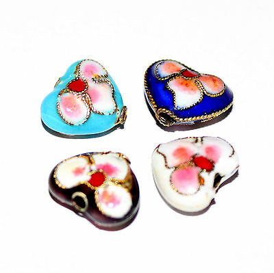 Pack of 6 heart shape cloisonne style alloy beads 10 x 11mm choice of colours