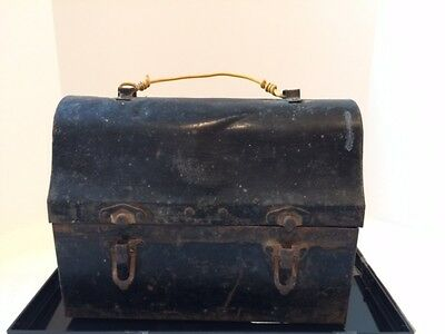 Antique Vintage Railroad Workers Metal Black Dome Lunchbox. Late 1930's