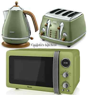 Kettle Toaster & Green Microwave Delonghi Kettle & Toaster Set + Swan Microwave