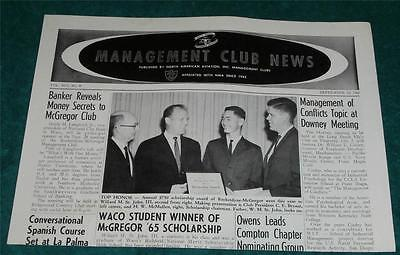 North American Aviation 1965 Management Club News Flyer Brochure