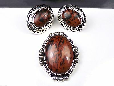 Bold Sterling Silver Jasper Pendant Earrings Set Lot Mexico Mexican Suite