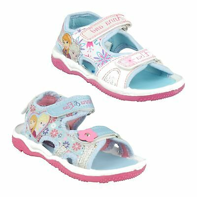 Girls Size Disney Frozen Anna Elsa Sandals Light Blue White Sparkly Summer Shoes