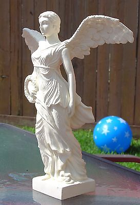 Greek Roman Standard Victory Nike marble or metal looking cold cast decor statue