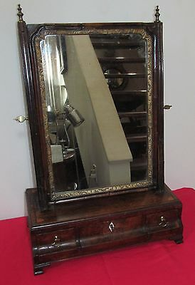 Important Early 18Th C Queen Anne Antique Shaving Mirror ~~ Stately