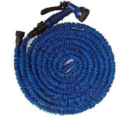 Expanding Flexible Garden Water Hose Pipe + Spray Nozzle 50,75,100 &150 ft blue