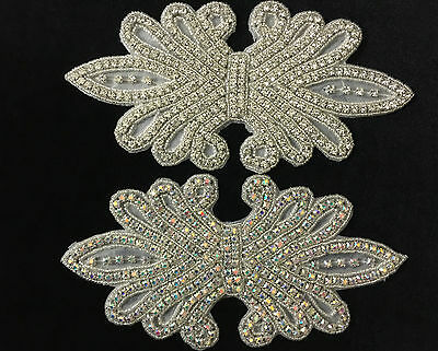 beautiful Glass Crystal  Rhinestone Applique Sewing Iron on bridal patch