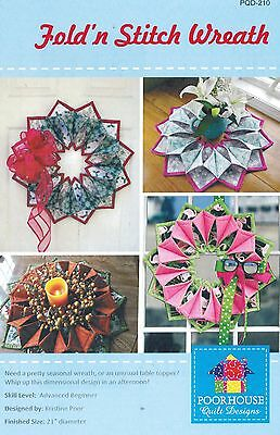 Fold'n Stitch Wreath Pattern for Wreath or Table Topper, Poorhouse Quilt Designs