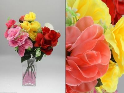 36 x Rose Bunch Open 7 Head 42cm Artificial Flowers 6 asstd Bulk Wholesale Lot