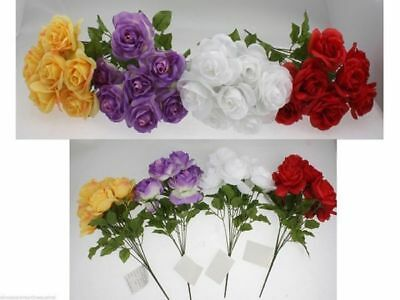 12 x Rose Deco Artificial flowers bunch 8 head 39cm 4 asst bulk Wholesale lot