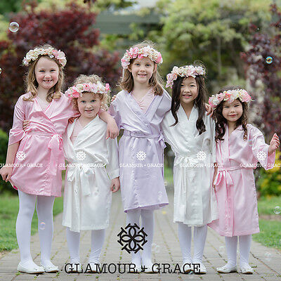 Children's Flower Girl Bridesmaid Satin Dressing Gown Bridal Robe Girls Kids