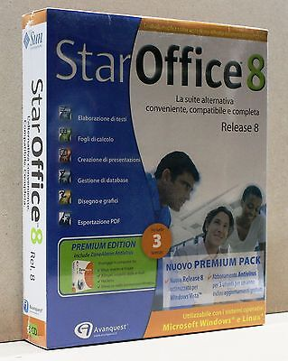 STAR OFFICE 8 - release 8 [ pc cd-rom, windows/linux, avanquest, con 3 licenze]